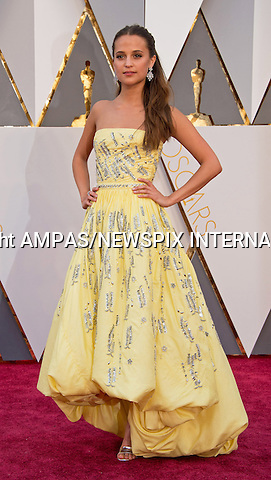 28.02.2016; Hollywood, California: 88th OSCARS - ALICIA VIKANDER<br /> attend the 88th Annual Academy Awards at the Dolby Theatre&reg; at Hollywood &amp; Highland Center&reg;, Los Angeles.<br /> Mandatory Photo Credit: &copy;Ampas/Newspix International<br /> <br /> PHOTO CREDIT MANDATORY!!: NEWSPIX INTERNATIONAL(Failure to credit will incur a surcharge of 100% of reproduction fees)<br /> <br /> IMMEDIATE CONFIRMATION OF USAGE REQUIRED:<br /> Newspix International, 31 Chinnery Hill, Bishop's Stortford, ENGLAND CM23 3PS<br /> Tel:+441279 324672  ; Fax: +441279656877<br /> Mobile:  0777568 1153<br /> e-mail: info@newspixinternational.co.uk<br /> All Fees To: Newspix International