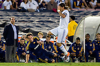 Todd Dunivant of the LA Galaxy slides into advancing Sergio Ramos of Real Madrid. Real Madrid beat the LA Galaxy 3-2 in an international friendly match at the Rose Bowl in Pasadena, California on Saturday evening August 7, 2010.