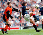 Marco Negri turns Stewart McKimmie to score goal no 4 of 5 against Dundee Utd, 23rd August 1997