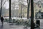 Europe, The Netherlands, Amsterdam. Amsterdam city scene in winter snow.