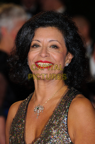 Jany Temime.Royal World Premiere of 'Skyfall' held at the Royal Albert Hall, London, England..October 23rd, 2012.headshot portrait silver sequins sequined red lipstick necklace .CAP/CJ.©Chris Joseph/Capital Pictures.