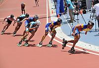 CALI – COLOMBIA – 02-08-2013: Prueba de los 1000 metros Mayores Varones en patinaje de Velocidad en los IX Juegos Mundiales Cali, agosto 2 de 2013. (Foto: VizzorImage / Luis Ramirez / Staff). Competition of 1000 meters Senior Men in Speed Skating in the IX World Games Cali, August 2 2013. (Photo: VizzorImage / Luis Ramirez / Staff).