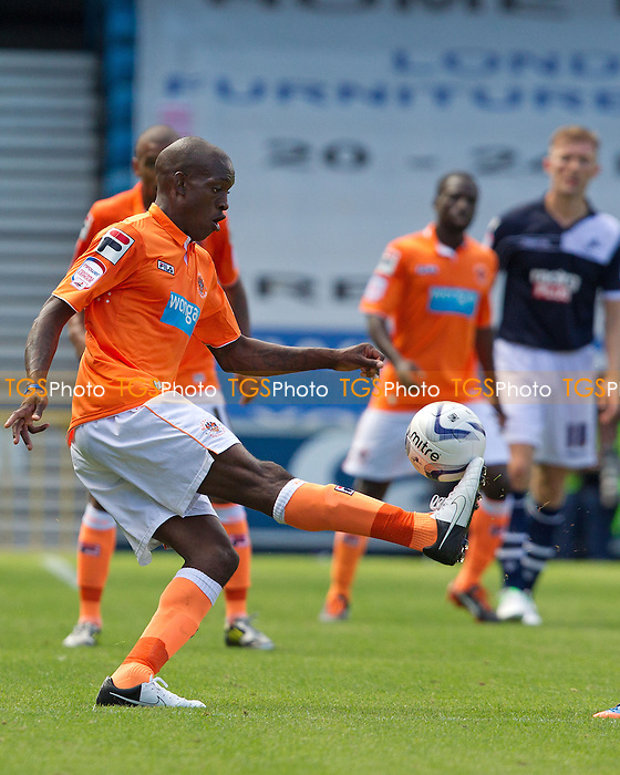 Isaiah Osbourne, Blackpool FC calmly clears for the visitors - Millwall vs Blackpool - NPower Championship Football at the New Den, London - 18/08/12 - MANDATORY CREDIT: Ray Lawrence/TGSPHOTO - Self billing applies where appropriate - 0845 094 6026 - contact@tgsphoto.co.uk - NO UNPAID USE.