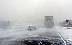 Driving north on Highway 51 in central Wisconsin during a snowstorm. .