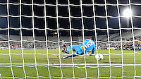 Orlando, FL - Saturday Jan. 21, 2017: São Paulo goalkeeper Sidão (12) has the penalty kick go under him during the penalty kick shootout of the Florida Cup Championship match between São Paulo and Corinthians at Bright House Networks Stadium. The game ended 0-0 in regulation with São Paulo defeating Corinthians 4-3 on penalty kicks.