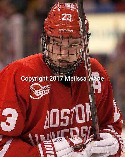 Jakob Forsbacka Karlsson (BU - 23) - The Boston University Terriers defeated the Boston College Eagles 3-1 in their opening Beanpot game on Monday, February 6, 2017, at TD Garden in Boston, Massachusetts.