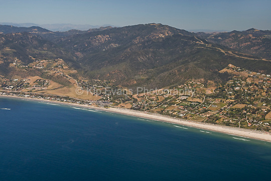 Aerial view of Zuma Beach, just north of Point Dume, in Malibu, looking north.