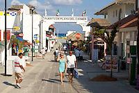 Tourists strolling in Playa del Carmen, Riviera Maya, Quintana Roo, Mexico.