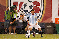 Argentina defender Javier Zanetti (8) and United States defender Frankie Hejduk (2). The men's national teams of the United States and Argentina played to a 0-0 tie during an international friendly at Giants Stadium in East Rutherford, NJ, on June 8, 2008.