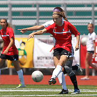 Aztec MA midfielder Kylie Strom (18) passes the ball. In a Women's Premier Soccer League (WPSL) match, Aztec MA defeated CFC Passion, 4-0, at North Reading High School Stadium on July 1, 2012.