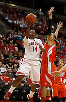 Ohio State Buckeyes guard Ameryst Alston (14) drive sup against Bowling Green Falcons forward Jill Stein (40) in the first half at Value City Arena in Columbus Nov. 24, 2013.