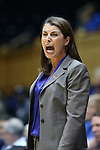 20 March 2015: Duke head coach Joanne P. McCallie. The Duke University Blue Devils hosted the University at Albany Great Danes at Cameron Indoor Stadium in Durham, North Carolina in a 2014-15 NCAA Division I Women's Basketball Tournament first round game.