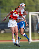 Western New York midfielder Tori Huster (10) battle for head ball. In a Women's Premier Soccer League Elite (WPSL) match, the Boston Breakers defeated Western New York Flash, 3-2, at Dilboy Stadium on May 26, 2012.