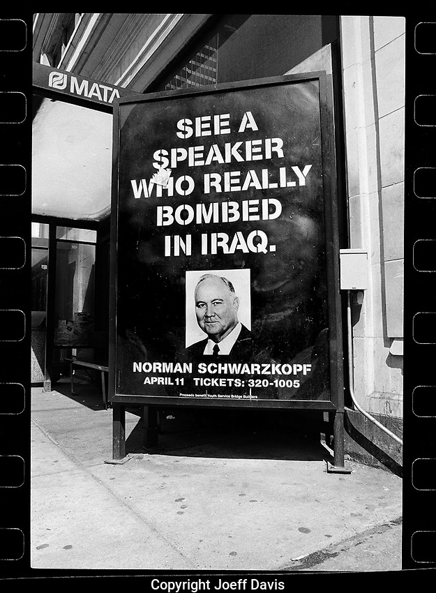 January 20, 1997 - Washington D.C.: A <br /> bus stop advertisement in Washington D.C. the day of Bill Clinton's 2nd Inauguration. General Norman Schwarzkopf (pictured) led the Gulf War which killed many, many, many people.