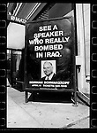 General Norman Schwarzkopf (pictured) led the Gulf War which killed many, many people. Poster in Washington D.C. 1996  during Clinton Inauguration.