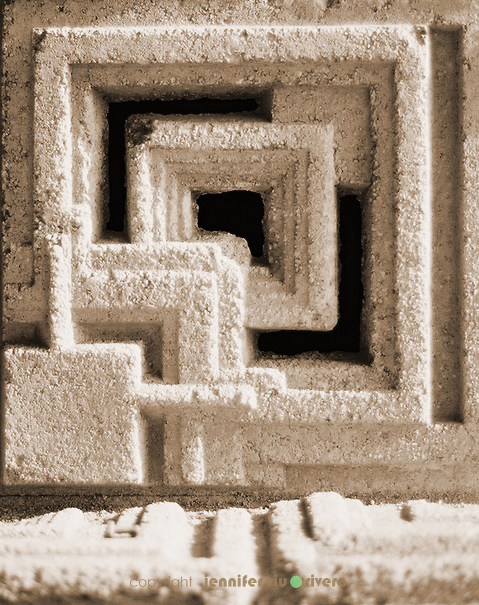 Original textile block by Frank Lloyd Wright at Ennis House, Los Angeles, CA