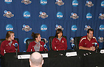 08 December 2007: Kirsten van de Ven (NED) (l), Amanda DaCosta (2nd from left),  Mami Yamaguchi (JPN) (2nd from right), and head coach Mark Krikorian (r). The Florida State University Seminoles held a press conference at the Aggie Soccer Stadium in College Station, Texas one day before playing in the NCAA Division I Womens College Cup championship game.