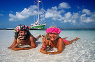 February 17, 1986. Cayo Largo, Cuba. Antoine and his companion Titou relax at a stopover in the Cuban archipelago.