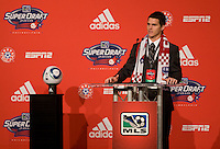 Zach Loyd of North Carolina speaks after being the  fifth overall pick of  the MLS Superdraft by FC Dallas at the Pennsylvania Convention Center in Philadelphia, PA.
