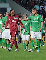 FUSSBALL   DFB POKAL   SAISON 2011/2012  1. Hauptrunde      30.07.2011 1. FC Heidenheim - Werder Bremen Enttaeuschung Werder Bremen;  Torwart Tim Wiese, Marko Marin  und Markus Rosenberg (v.li)