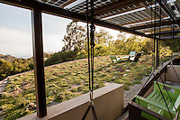 Green roof with seating, Coyote House, LEED Platinum, SITES® residential home with sustainable garden Santa Barbara California, Susan Van Atta landscape architect, Ken Radtkey architect,