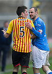 Partick Thistle v St Johnstone.....14.03.15<br /> Dave Mackay and Callum Booth square up<br /> Picture by Graeme Hart.<br /> Copyright Perthshire Picture Agency<br /> Tel: 01738 623350  Mobile: 07990 594431
