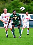 12 September 2010: University of Vermont Catamount forward D.J. Edler, a Sophomore from Atlanta, GA, in action against the Cornell University Big Red at Centennial Field in Burlington, Vermont. The Catamounts defeated the Big Red 2-1. Mandatory Credit: Ed Wolfstein Photo