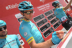 Astana Pro Team riders sign on before the start of Stage 1 Emirates Motor Company Stage of the 2017 Abu Dhabi Tour, running 189km from Madinat Zayed through the desert and back to Madinat Zayed, Abu Dhabi. 23rd February 2017<br /> Picture: ANSA/Matteo Bazzi | Newsfile<br /> <br /> <br /> All photos usage must carry mandatory copyright credit (&copy; Newsfile | ANSA)