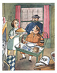 (A woman serves an American military policeman a huge pie while a British policeman looks enviously through the kitchen window)