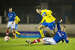 Cowdenbeath v St Johnstone ..17.12.12      Scottish Cup.Murray Davidson is brought down Thomas O'Brien.Picture by Graeme Hart..Copyright Perthshire Picture Agency.Tel: 01738 623350  Mobile: 07990 594431