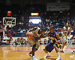 "Ole Miss' Terrance Henry (1) vs. LSU's Chris Bass (4) at the C.M. ""Tad"" Smith Coliseum in Oxford, Miss. on Saturday, February 25, 2012. (AP Photo/Oxford Eagle, Bruce Newman).."