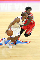 02/22/15 Los Angeles, CA: Los Angeles Clippers guard Chris Paul #3 and Houston Rockets guard Patrick Beverley #2 in action  during an NBA game played at Staples Center.