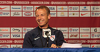 Glendale, AZ. - Tuesday, April 1, 2014: US Men's National team head coach Jurgen Klinsmann and National team Captain Clint Dempsey meet with reporters during their pre game press conference at University of Phoenix Stadium.