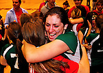 14 November 2010: Junior Leslie Gadway celebrates victory for the Vermont Commons School Flying Turtles, as the VCS Girls team defends their title to win the 2010 High School Volleyball State Championship at Saint Michael's College in Colchester, Vermont. Gadway was the MVP for the Turtles in their third consecutive state title. Participating schools included: the Enosburg Falls Hornets, the Lake Region Union Rangers, the Lyndon Institute Vikings, and the VCS Flying Turtles. The Boys Championship went to Lake Region Union High School. Mandatory Credit: Ed Wolfstein Photo.