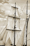 Tall Ship Fritha Sailing on the Charleston Harbor, This is a Brigantine Rigged sailing vessel