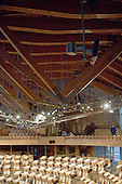 Roof construction, debating chamber of the new Scottish Parliament building at Holyrood, Edinburgh.  Designed by Spanish architect, Enric Miralles.