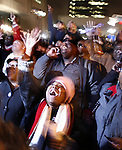 People celebrate in support of President-elect Barack Obama on election day Tuesday, Nov. 4, 2008 in the Harlem section of New York. Photo by Eyal Warshavsky