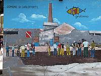 GIU 2010 Sardegna, Carloforte, Isola di San Pietro, chioschi con murales sulla pesca del tonno.JUN 2010 Sardinia, Carloforte, San Pietro Island, kiosks with paintings about the  tuna fishing