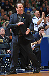 Mike Brey celebrates an Irish score.