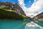 Lake Louise is a glacial lake within Banff National Park in Alberta, Canada. Lake Louise is named after the Princess Louise Caroline Alberta (1848&ndash;1939), the fourth daughter of Queen Victoria.<br /> The emerald color of the water comes from rock flour carried into the lake by melt-water from the glaciers that overlook the lake. <br /> Fairmont's Chateau Lake Louise, one of Canada's grand railway hotels, is located on Lake Louise's eastern shore. It is a luxury resort hotel built in the early decades of the 20th century by the Canadian Pacific Railway.