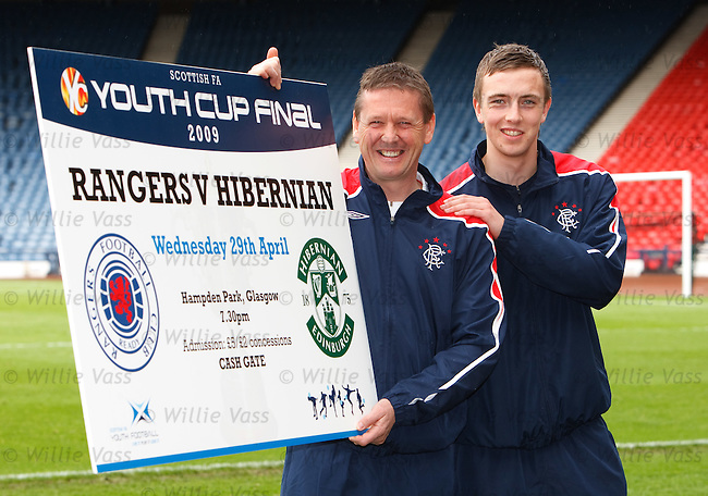 Rangers youth team coach Billy Kirkwood and captain Danny Wilson