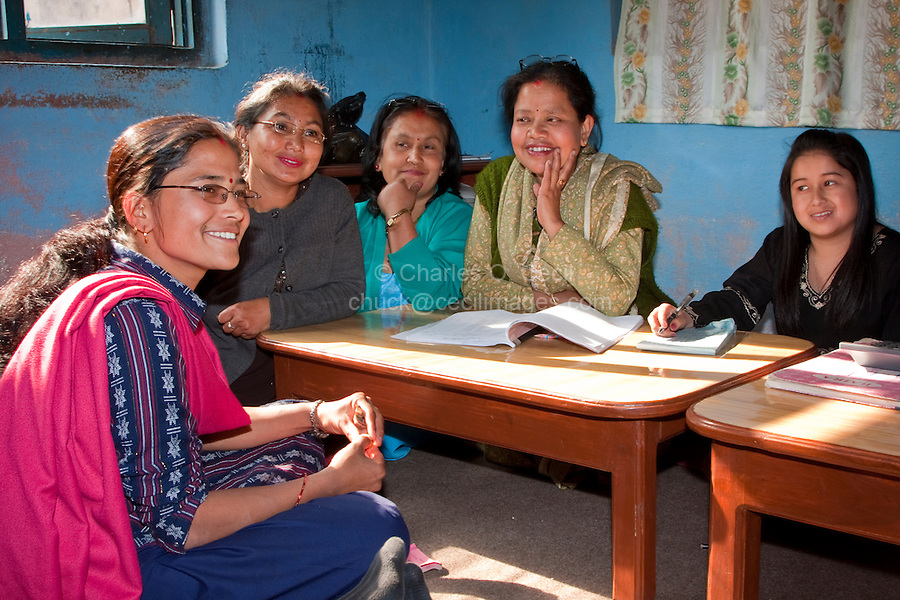 Kathmandu, Nepal.  Micro-credit Loan Recipient Meets with Local Committee Supervising her Loan from the Non-Profit NGO CORE, Creating Opportunities and Resources for the Excluded.
