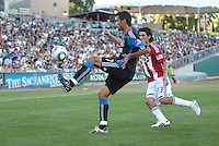 Ramon Sanchez controls the ball. The San Jose Earthquakes defeated Chivas USA 6-5 in shootout after drawing 0-0 in regulation time to win the inagural Sacramento Cup at Raley Field in Sacramento, California on June 12, 2010.