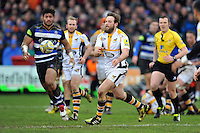 Ruaridh Jackson of Wasps passes the ball. Aviva Premiership match, between Bath Rugby and Wasps on February 20, 2016 at the Recreation Ground in Bath, England. Photo by: Patrick Khachfe / Onside Images