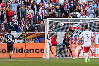 Thierry Henry (14) of the New York Red Bulls takes a bicycle kick. The New York Red Bulls defeated the Philadelphia Union 2-1 during a Major League Soccer (MLS) match at Red Bull Arena in Harrison, NJ, on March 30, 2013.