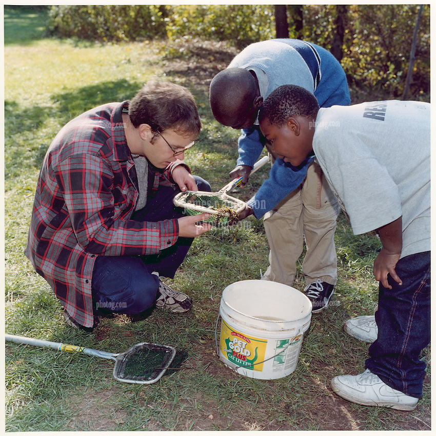 """Forestry Students in Field Study with New Haven Middle School Students. Yale School of Forestry & Environmental Studies. Viewbook Illustration. Comp files only: Contact Photographer for new high res scans from the original 2.25"""" square negative."""
