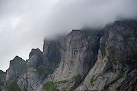 Storm clouds cover mountain peaks, Lofoten islands, Norway