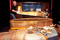 NO REPRO FEE. Tutankhamun: His Tomb and Treasures has arrived in Dublin at the RDS Industries Hall. Pictured carpenters Frank Gehrmann and Martin Zens putting the finishing touches to the exhibit. 'Tutankhamun - His Tomb and His Treasures' has already delighted over 1,700,000 visitors across Europe and will open on the 17 February at Dublin's RDS in the Industries Hall. The RDS is located on Merrion Road, Ballsbridge, Dublin 4. www.kingtutdublin.ie and www.ticketmaster.ie for further exhibition and ticket information. Picture James Horan/Collins Photos