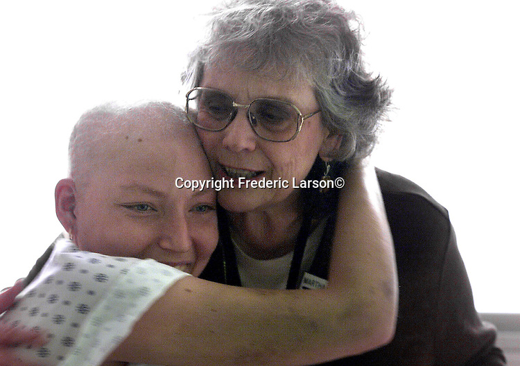 Chaplain Martha Jo Chalmers and  hospital patient Hope Kingston share experiences of having cancer on the cancer ward of San Francisco General Hospital, California.