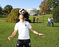 "Ben Olsen during a  D.C United clinic in support of first lady Michelle Obama's ""Let's Move"" initiative on the White House lawn, in Washington D.C. on October 7 2010."